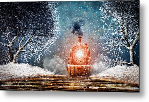 Train Metal Print featuring the mixed media Traveling On Winters Night by Bob Orsillo