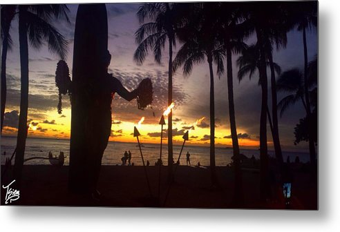 Sunset Metal Print featuring the photograph When The Night Come Sunset At The Beach by Tsieu Phang