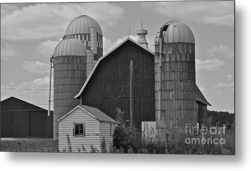 Black And White Metal Print featuring the photograph Barns And Silos Black And White by Pamela Walrath
