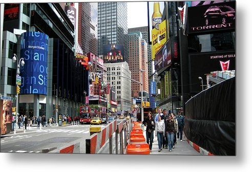 Times Square Street Metal Print featuring the photograph Amidst Color And Construction In Times Square by Lorraine Devon Wilke