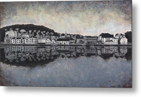 Seascape Metal Print featuring the drawing Farsund Waterfront by Janet King