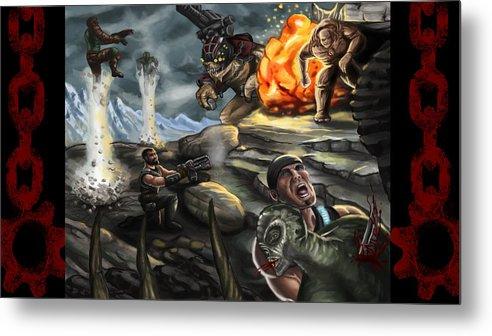 Gears Of War Metal Print featuring the digital art Gears Of War Battle by Kerstin Carrion