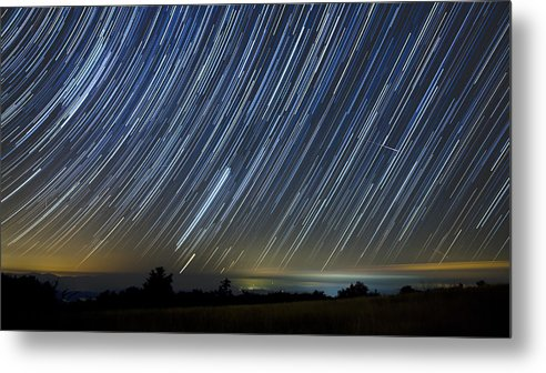 Startrails Metal Print featuring the photograph Perseid Smoky Mountain Startrails by Daniel Lowe