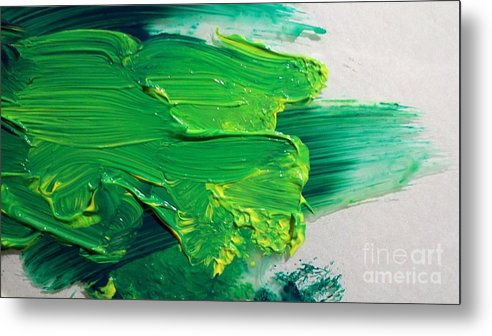 Expressionist Metal Print featuring the painting Pthalo And Cad On Glass by Ronald Greer