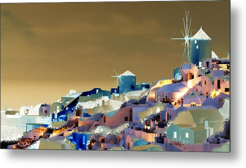 Nature Metal Print featuring the digital art Santorini by Ilias Athanasopoulos