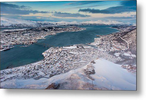 Horizontal Metal Print featuring the photograph Tromso City by Coolbiere Photograph