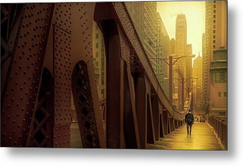 Alone Metal Print featuring the photograph A Quiet Sunday Morning In Chicago by Yves Keroack