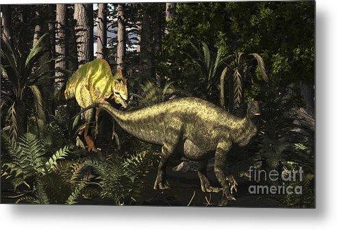 Horizontal Metal Print featuring the digital art Acrocanthosaurus Hunting Tenontosaurus by Arthur Dorety