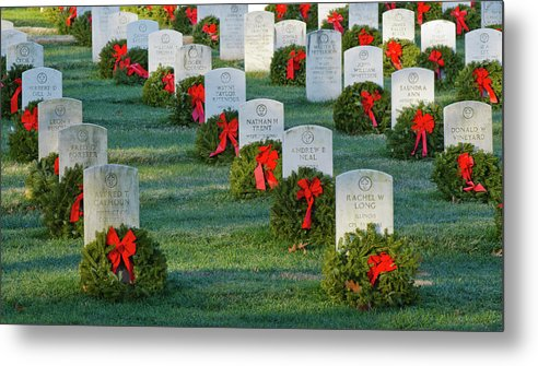 Washington Metal Print featuring the photograph Arlington National Cemetery At Christmas by Craig Fildes