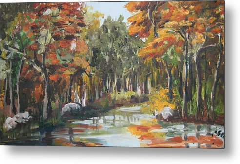 Landscape Metal Print featuring the painting Autumn In The Woods by Mabel Moyano