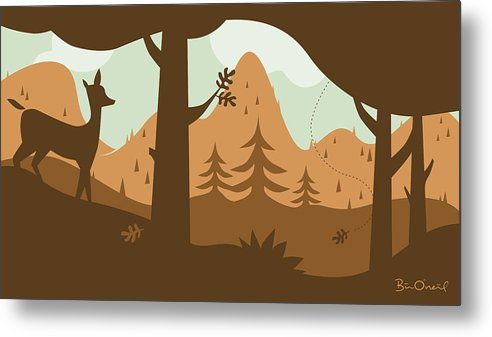Landscape Metal Print featuring the print Autumn Landscape With Deer by Bill ONeil