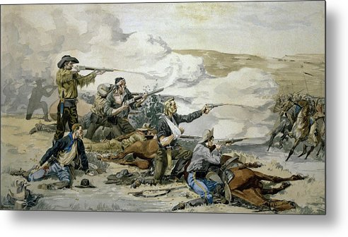 Battle Metal Print featuring the painting Battle Of Beecher's Island by Frederic Sackrider Remington