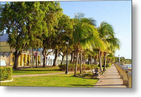 Caribbean Metal Print featuring the painting Caribbean Waterfront by Linda Morland