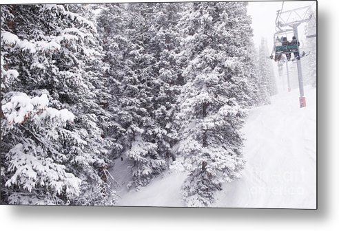 Skiers Riding The Chairlift Metal Print featuring the photograph Chair #1 by John Stuart