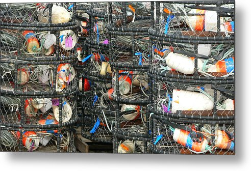 Crabs Metal Print featuring the photograph Crab Traps by Larry Keahey