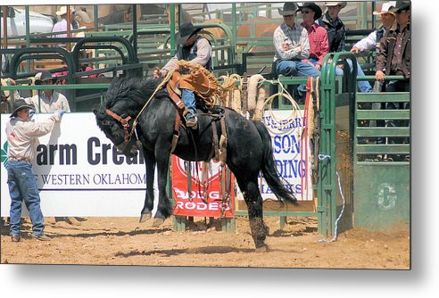 Rodeo Metal Print featuring the photograph Crow Hopping Saddle Bronc by Cheryl Poland