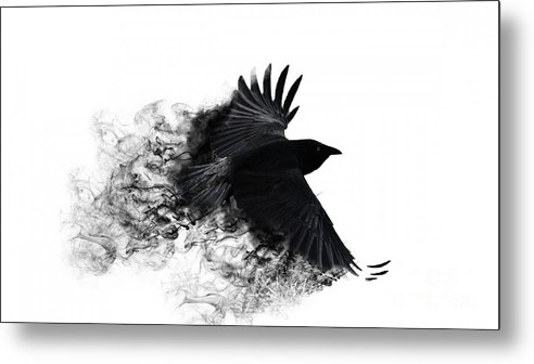 Painting Metal Print Featuring The Digital Art Crow Wallpaper By Andy Maryanto