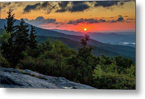 Blue Ridge Parkway Metal Print featuring the photograph Blue Ridge Parkway Sunrise - Beacon Heights - North Carolina by Mike Koenig