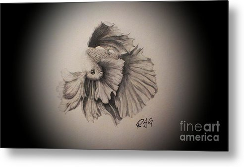 Fish Metal Print featuring the drawing Fabulous Fighter by Robyn Garnet