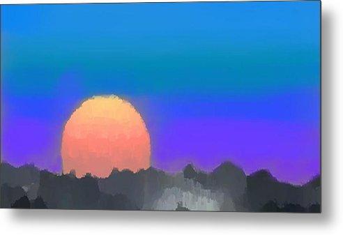 Evenung.sunset.sky.sun.background Forest.silence.rest Metal Print featuring the digital art Forest Sunset. by Dr Loifer Vladimir