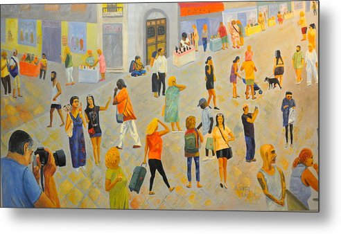 People Metal Print featuring the painting Friday In Tel Aviv by Asher Topel