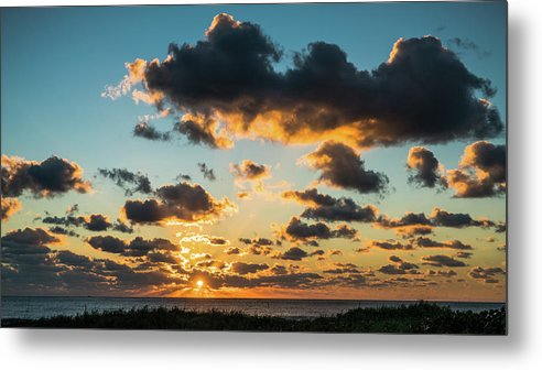 Florida Metal Print featuring the photograph Golden Cloud Sunrise Delray Beach Florida by Lawrence S Richardson Jr