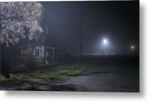 Night Metal Print featuring the photograph House At The End Of The Road by Cat Connor