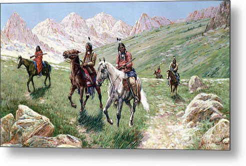 In The Cheyenne Country Metal Print featuring the painting In The Cheyenne Country by John Hauser