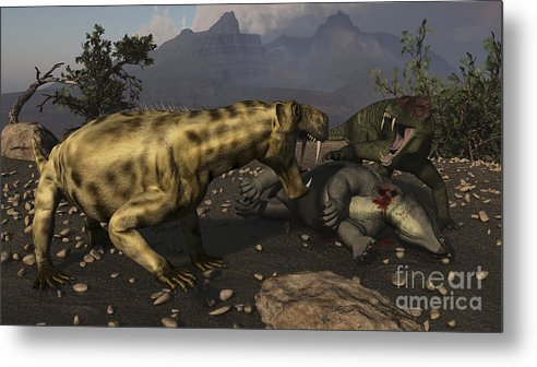 Horizontal Metal Print featuring the digital art Inostrancevia Moving In On A Kill Made by Arthur Dorety