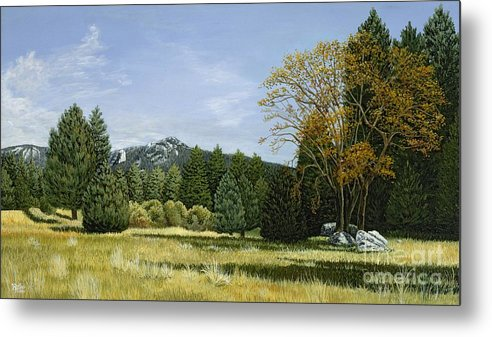Landscape Metal Print featuring the painting Isomata Meadow by Jiji Lee
