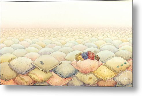 Sleep Dream Evening Landscape Pink Sky Cloud Metal Print featuring the painting Lisas Journey03 by Kestutis Kasparavicius