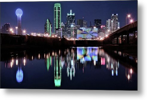 Dallas Metal Print featuring the photograph Lone Star Night by Frozen in Time Fine Art Photography
