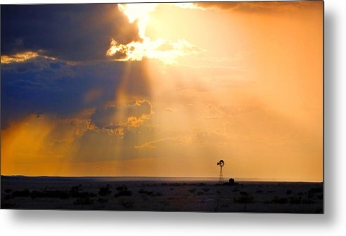 Skip Hunt Metal Print featuring the photograph Marfa Windmill 1 by Skip Hunt