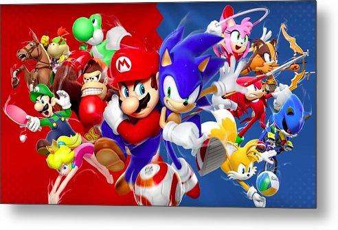 Mario Vs Sonic Metal Print