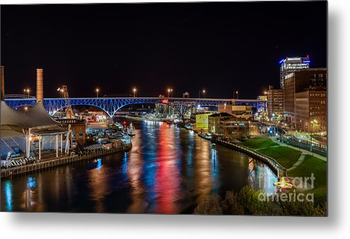 City View Cityscape Metal Print featuring the photograph Moon Setting Beyond The Flats by Frank Cramer