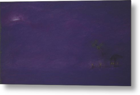 Purple Metal Print featuring the pastel Moonrise by Amanda Clark