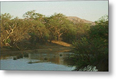 Africa Metal Print featuring the digital art Namibian Waterway by Ernie Echols