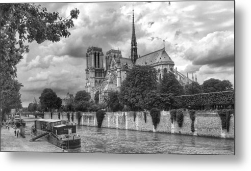 Paris Metal Print featuring the photograph Notre Dame And Seine by Dave Byers