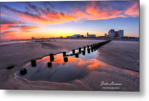 Ocean City Metal Print featuring the photograph Ocean City Afterglow by John Loreaux