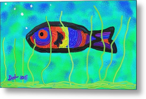 Digital Art Metal Print featuring the painting Painted Fish by Dotti Hannum