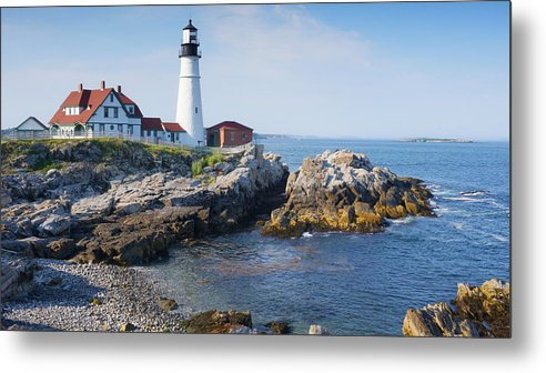 Portland Head Lighthouse Portland Me Metal Print featuring the photograph Portland Head Lighthouse Portland Me by Wayman Benton