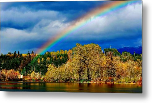 Beautiful Metal Print featuring the photograph Rainbow Over Mill Pond by David Coleman