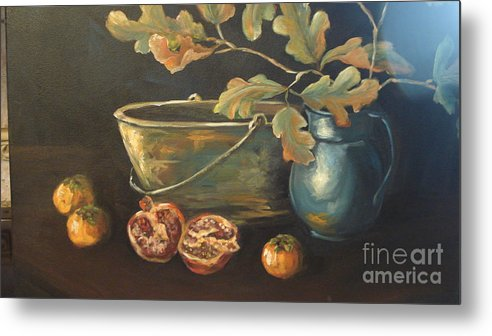 Blue Metal Print featuring the painting Reflection by Kathy Brusnighan