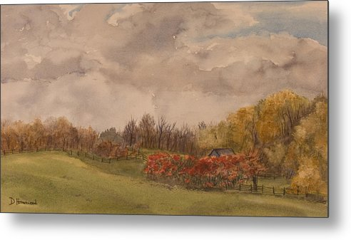Fields Metal Print featuring the painting Rolling Fields In The Fall by Debbie Homewood