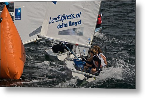 Regatta Metal Print featuring the photograph Rounding The Mark by Steven Lapkin