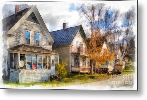 Hardwick; House; Home; Street; Town; Rural; City; Row; Homes; Houses; Decay; Old; Period; Traditional; New England; Stowe; Vermont; Country; Fall; Farm; Harvest; Rural Metal Print featuring the photograph Row Of Houses Hardwick Vermont Watercolor by Edward Fielding