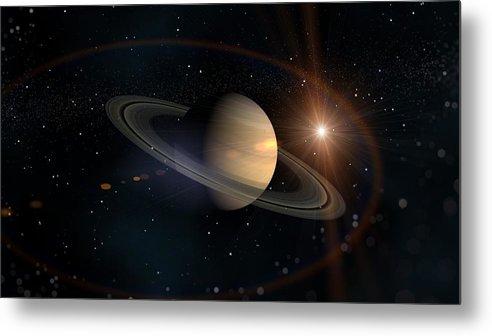 Saturn Metal Print featuring the digital art Saturn by Dorothy Binder