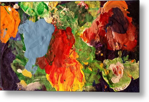 Abstract Metal Print featuring the painting Scramble by Ferdinand Amboy