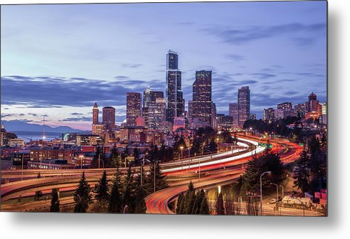 Seattle Metal Print featuring the photograph Seattle At Dusk by Seattle Art Wall