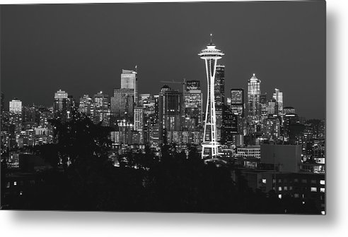 Seattle Metal Print featuring the photograph Seattle Skyline In B/w by Seattle Art Wall